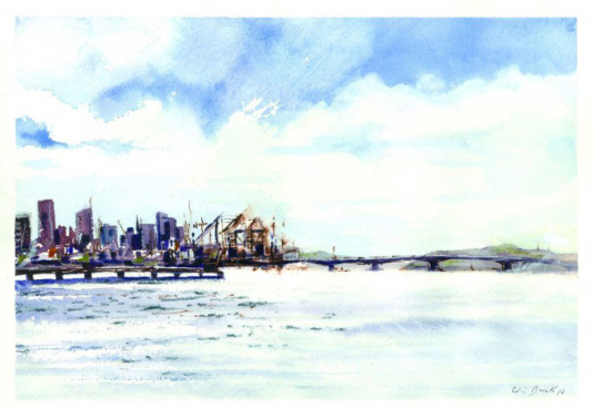 Auckland Harbour - Watercolor - Whitney C Brock