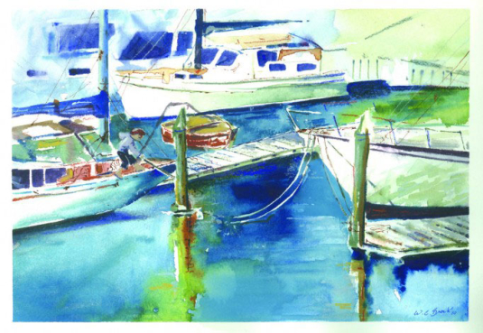 Docking in Auckland - Watercolor - Whitney C Brock