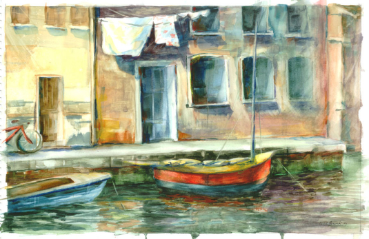 France, Boats - Watercolor - Whitney C Brock