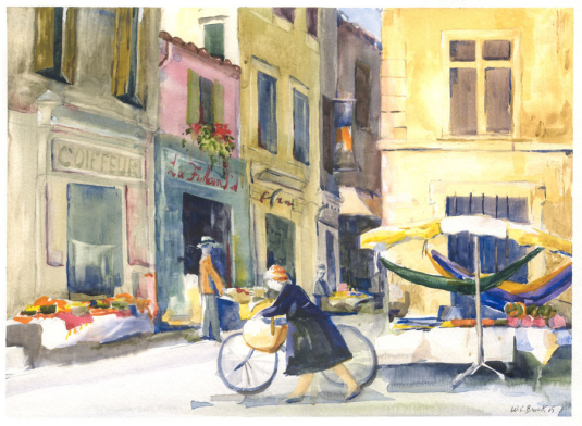France, Market - Watercolor - Whitney C Brock