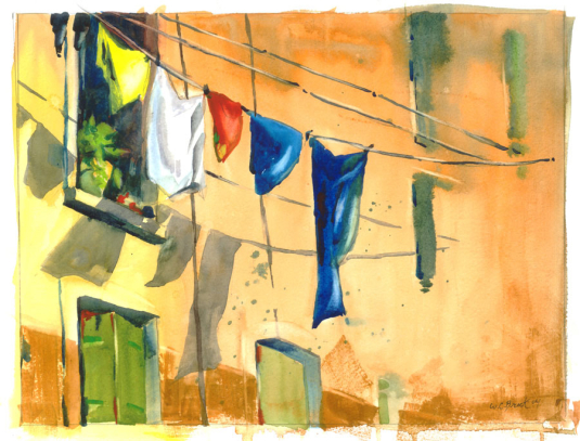 Laundry - Watercolor - Whitney C Brock