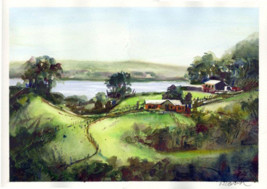 Vineyard on Whiaheke - Watercolor - Whitney C Brock